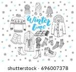winter season set doodle... | Shutterstock .eps vector #696007378