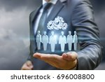 customers and the mechanism in... | Shutterstock . vector #696008800