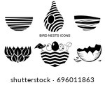 set icons bird's nest for a... | Shutterstock .eps vector #696011863