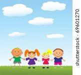 vector happy kids. | Shutterstock .eps vector #69601270