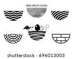 set icons bird's nest for a...   Shutterstock .eps vector #696013003