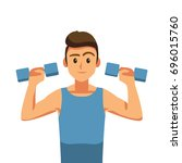 weight lifting  fitness and... | Shutterstock .eps vector #696015760