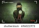 caught burglar by house camera...   Shutterstock . vector #696021973