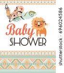 tribal party invitation | Shutterstock .eps vector #696024586