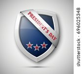 president's day shield banner... | Shutterstock .eps vector #696025348