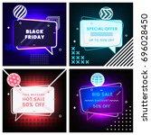 neon set of trendy abstract... | Shutterstock .eps vector #696028450