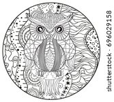 mandala with owl. design... | Shutterstock . vector #696029158