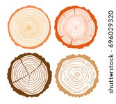 tree rings. set of cross... | Shutterstock . vector #696029320