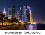 Stock photo doha skyline at night qatar middle east 696030790