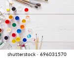 artist workplace. set of color... | Shutterstock . vector #696031570