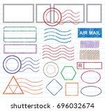 blank postal stamps set... | Shutterstock .eps vector #696032674