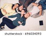 happy multiracial friends...   Shutterstock . vector #696034093