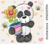 greeting card cute cartoon...   Shutterstock . vector #696034504