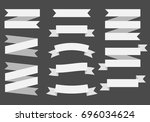 ribbons banners on black... | Shutterstock . vector #696034624