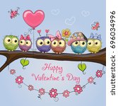 Valentines Card With Six Cute...