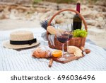 summer picnic on the beach at... | Shutterstock . vector #696036496
