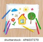 top view vector illustration of ... | Shutterstock .eps vector #696037270