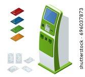 isometric set  online payment... | Shutterstock . vector #696037873