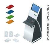 isometric set online payment... | Shutterstock . vector #696037879