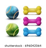 Stock vector vector pet toys with balls and rubber colorful bones isolated on white background 696042064