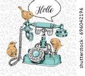 vintage telephone and birds on... | Shutterstock .eps vector #696042196