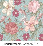 seamless pattern. beautiful... | Shutterstock .eps vector #696042214