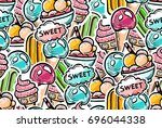 seamless pattern in youthful... | Shutterstock .eps vector #696044338