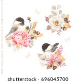 floral autumn decorations with... | Shutterstock .eps vector #696045700