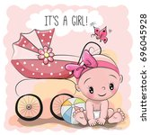 greeting card it is a girl with ... | Shutterstock . vector #696045928