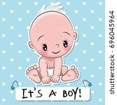 greeting card it is a boy with... | Shutterstock . vector #696045964