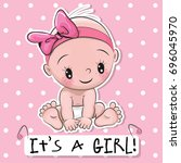 greeting card it is a girl with ... | Shutterstock . vector #696045970