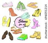 vector illustration of set hand ... | Shutterstock .eps vector #696051214