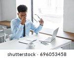 stress  fatigue overwork. tired ... | Shutterstock . vector #696053458