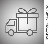 delivery truck icon  gift box | Shutterstock .eps vector #696053764