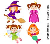 set of cute fairytale girls.... | Shutterstock .eps vector #696059488