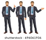 man in business suit with tie.... | Shutterstock .eps vector #696061936