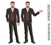 man in business suit with vest. ... | Shutterstock .eps vector #696062200