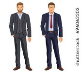 two men. man in business suit.... | Shutterstock .eps vector #696062203