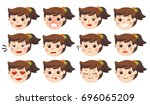 set of adorable girl facial... | Shutterstock .eps vector #696065209