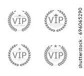 vip badges. laurel wreath set ... | Shutterstock .eps vector #696065290