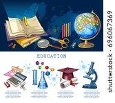 education infographic. modern... | Shutterstock .eps vector #696067369