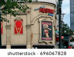 Small photo of New York, August 10, 2017: Larry Flint's Hustler club on the West side of Manhattan is a famous gentlemen's adult entertainment establishment.