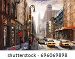 oil painting on canvas  street... | Shutterstock . vector #696069898