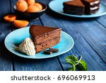 sacher cake   traditional... | Shutterstock . vector #696069913