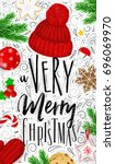 poster lettering a very merry... | Shutterstock .eps vector #696069970