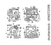 data analysis  graphs of growth ... | Shutterstock .eps vector #696072598