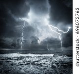 Dark Ocean Storm With Lgihting...