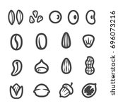 grain  nut  seed thin line icon ... | Shutterstock .eps vector #696073216