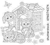 coloring page of dog  two cats  ... | Shutterstock .eps vector #696074374