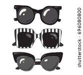 set of fashionable stylish...   Shutterstock .eps vector #696080800
